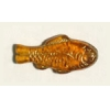 Glass Bead Fish 28x13mm Topaz Gold Strung